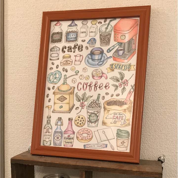 メルカリ 色鉛筆画 塗り絵 キッチンに可愛い絵を 絵画タペストリ