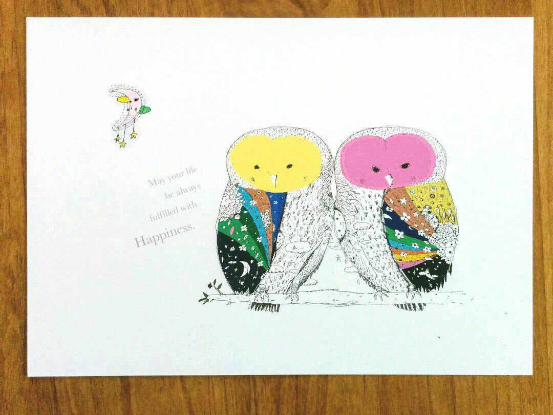 メルカリ - ゆみち様 しあわせのフクロウさん イラスト a3×2枚 アート