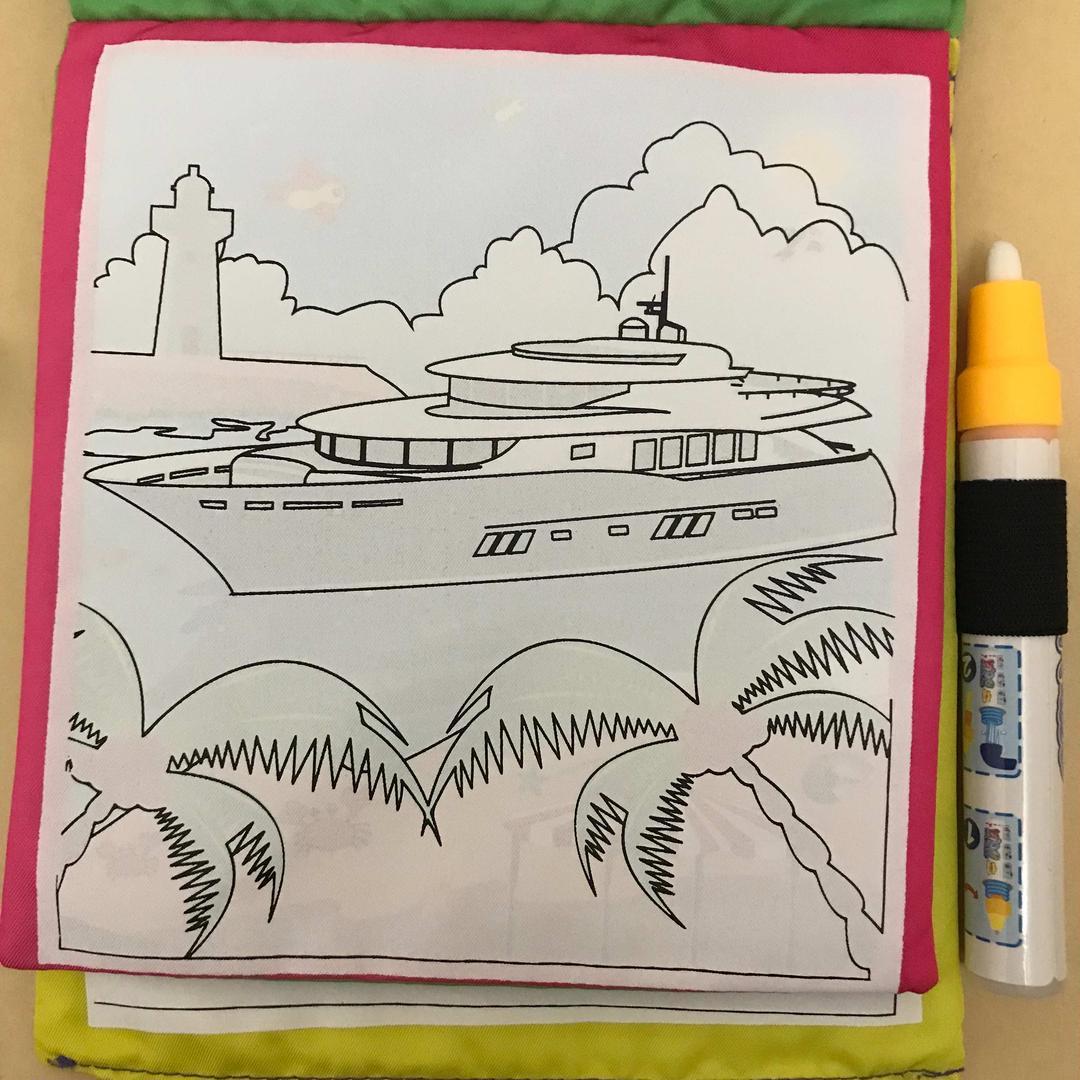 メルカリ ぬりえ 水塗り絵 新幹線 バス 船 スイスイおえかき ペン 布
