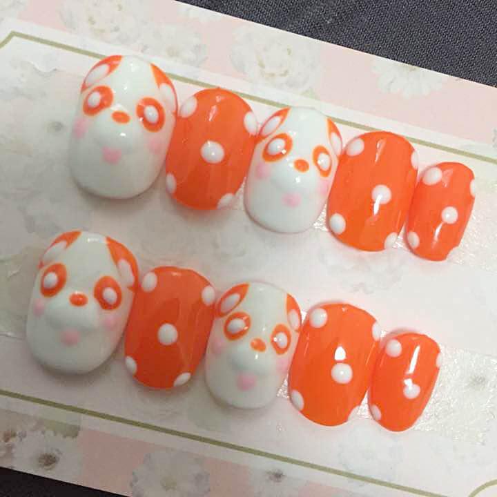 現品 え〜ぱんだ オレンジ 小さめサイズジェルネイルチップ