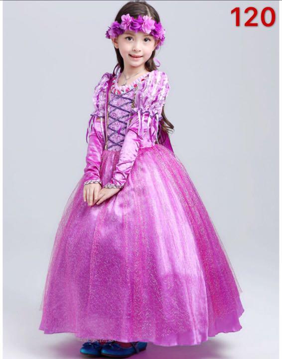 c29be57a81a1c 新品 女の子 コスプレ3点セット ラプンツェルキッズ プリンセス ドレス 120