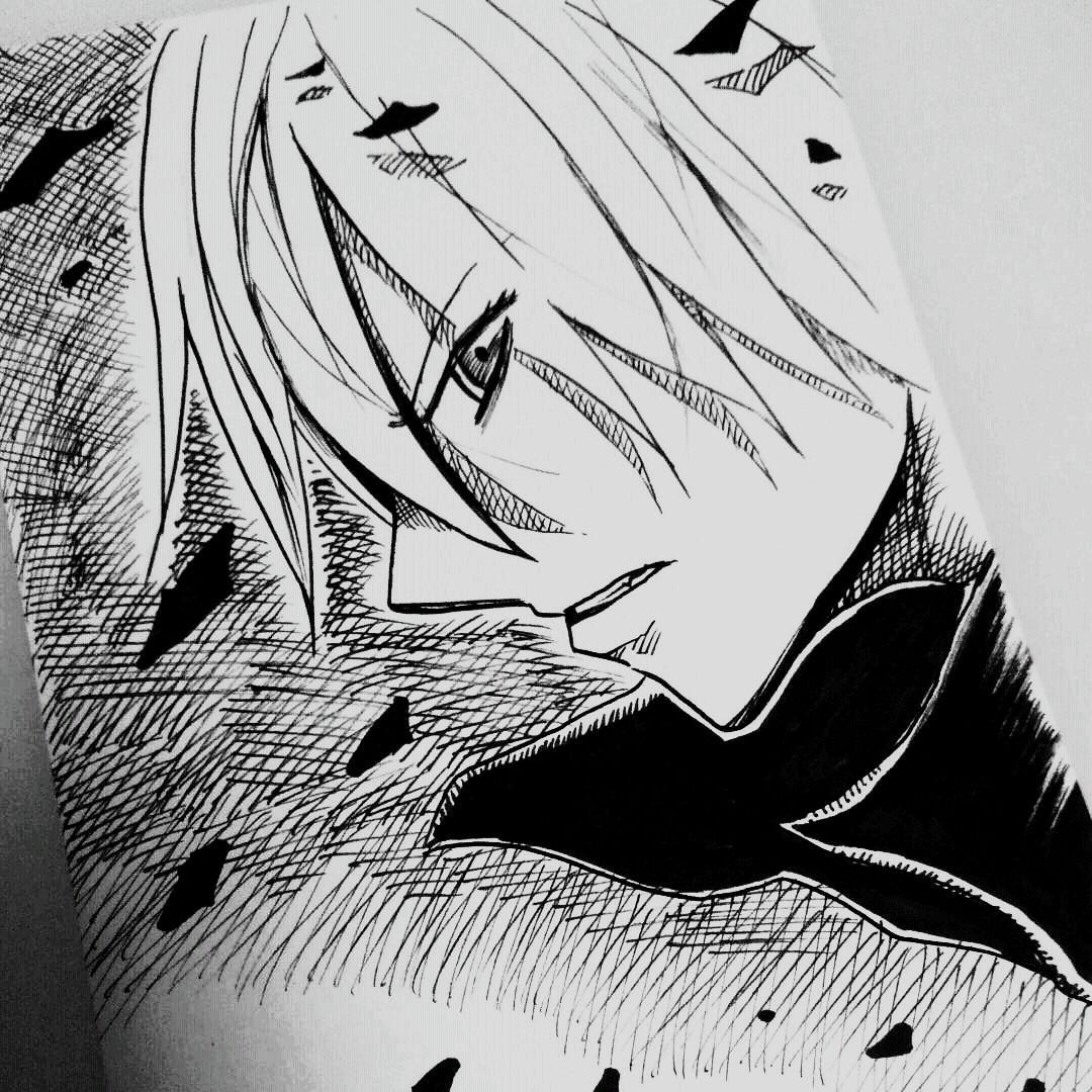 メルカリ - 「夜」オリジナルイラスト モノクロ 自作 【アート/写真