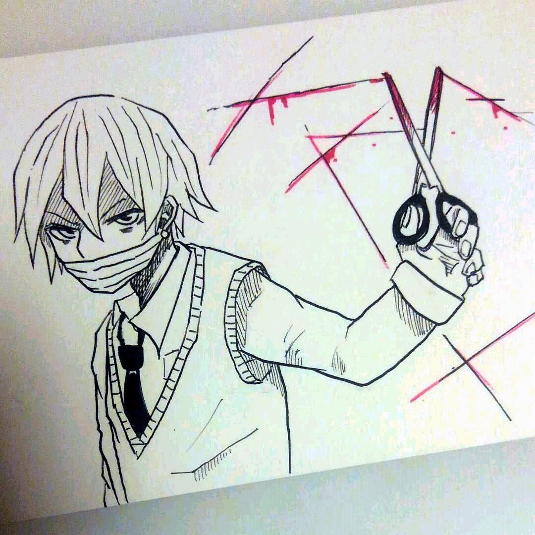 メルカリ - 手描きイラスト オリジナル 「ハサミ」 【アート/写真