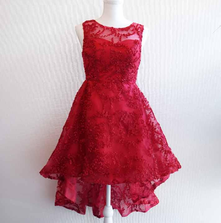 【最終値下】フィッシュテール ドレス(赤)サテン+メッシュ+リボン