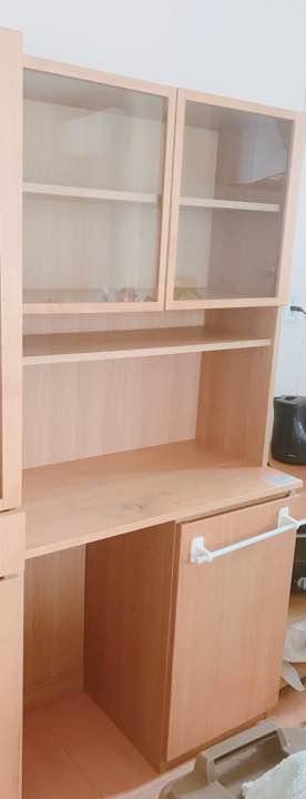 無印良品 オーク材 カップボード オープンタイプ ワゴン付 キャビネット キッチンボード 食器棚 MUJI