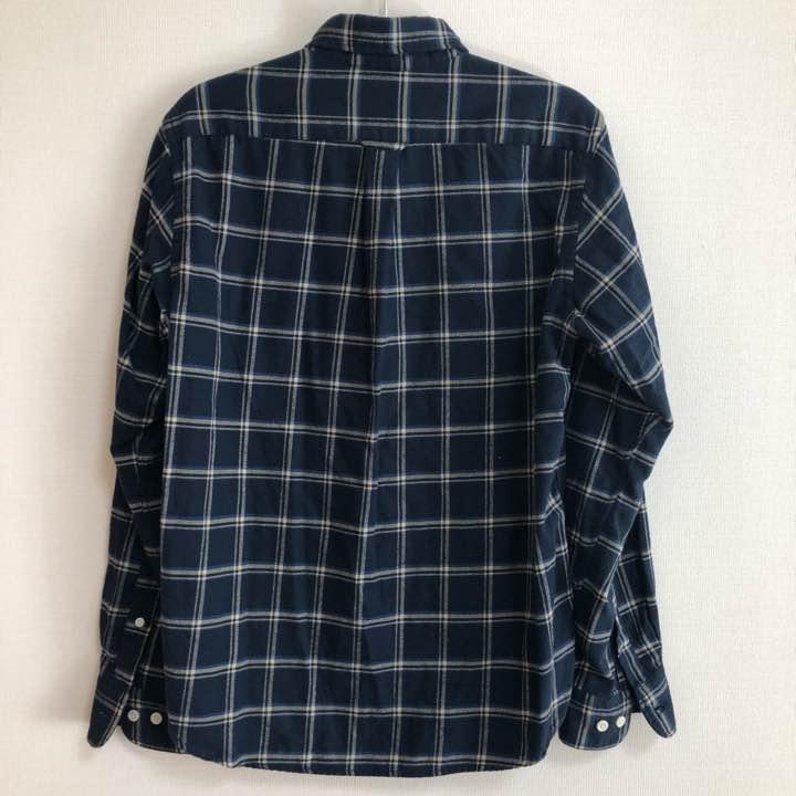 無印良品 シャツ ネルシャツ 半袖 チェック柄 青 グリーン M ※I-170