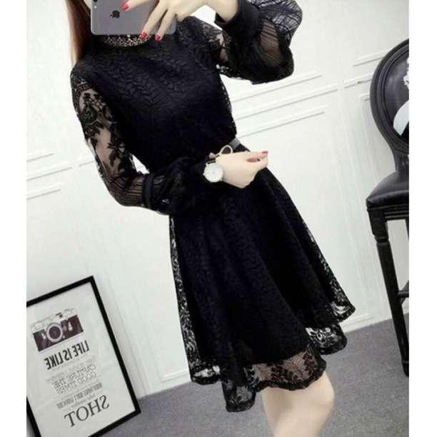 特価SALE☆春夏 パフスリーブ 結婚式 パーティー ドレス L 黒 ブラック