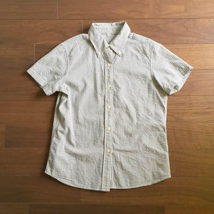 【無印良品 MUJI】半袖ストライプシャツ