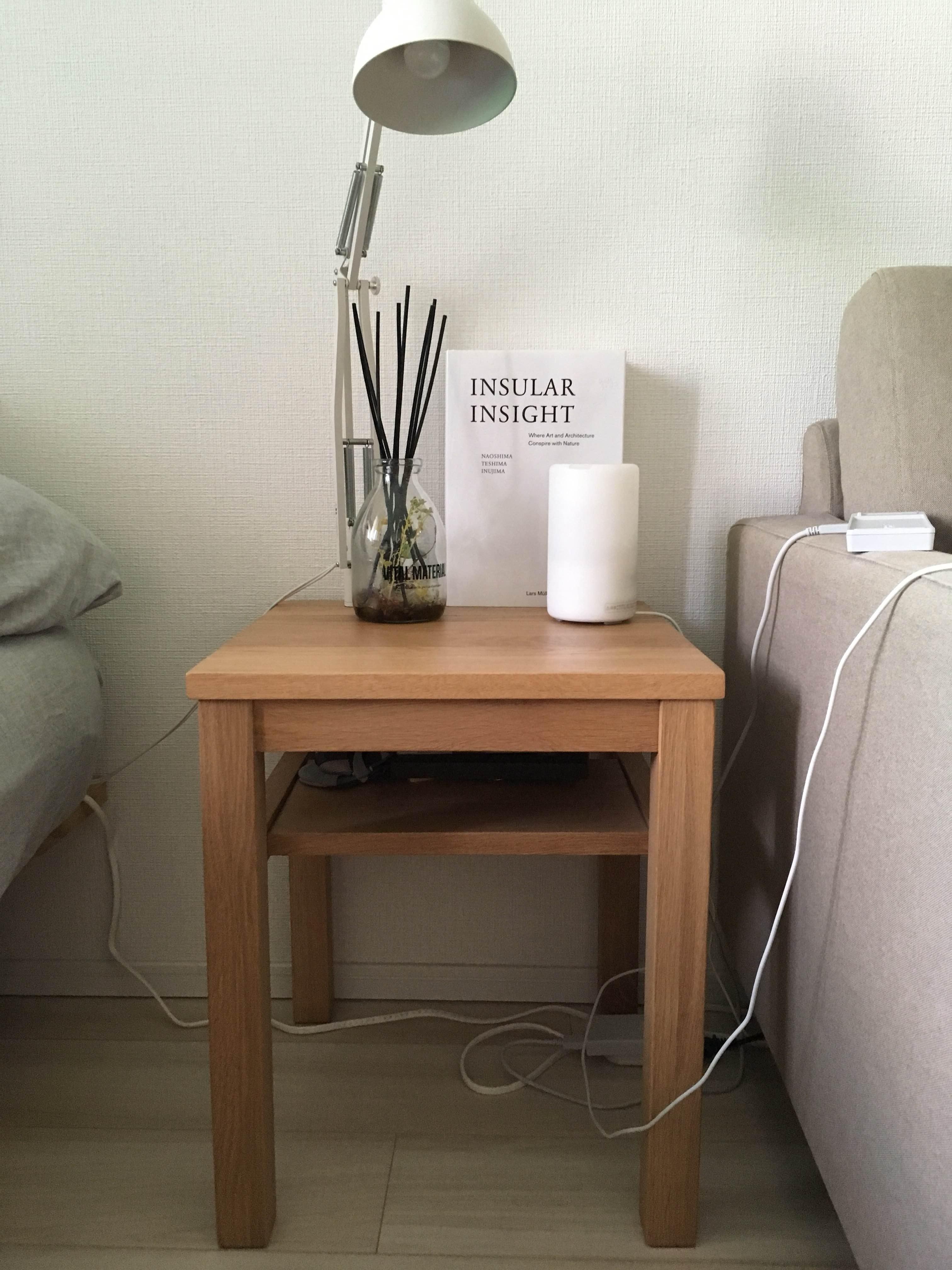 MUJI 無垢材サイドテーブルベンチ・板座・オーク材
