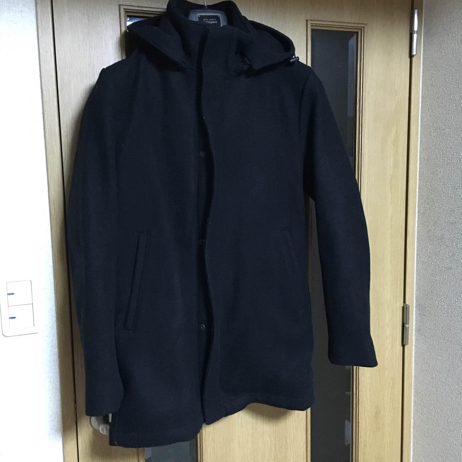 無印良品 フード付き ウール メルトンコート 黒 S サイズ 美中古 良品計画