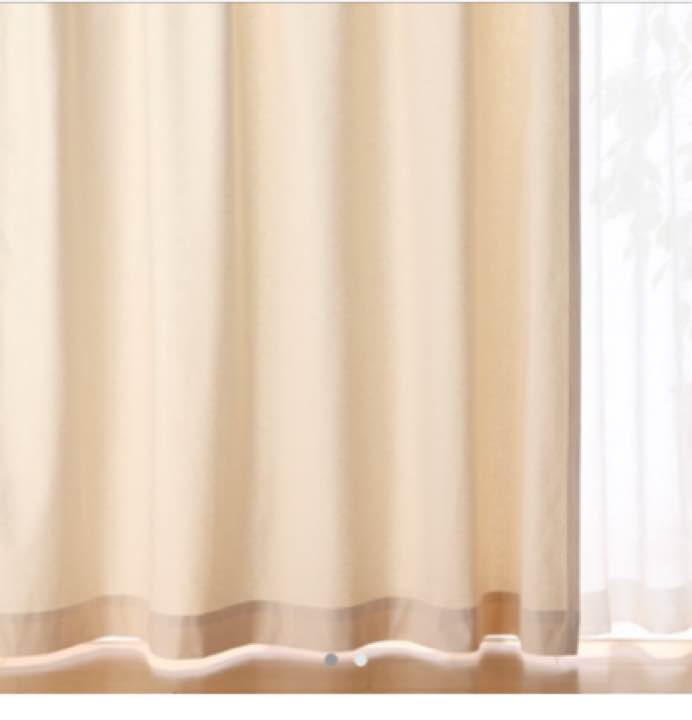 無印オーダーカーテン2枚組 美品☆生成