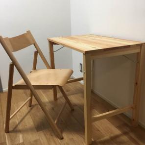 無印良品 パイン材テーブル&ブナ材チェアセット・折りたたみ式