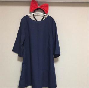 ハロウィン 仮装魔女の宅急便キキ衣装(リボンカチューシャ付き)