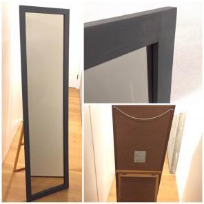 無印 姿見 鏡 スタンドミラー 大 メープル材 ブルーグレー塗装
