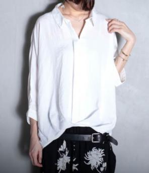 アンティカ とろみバックリングシャツ白