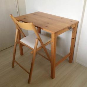 送料込み☆無印良品 パイン材 折りたたみ式 テーブル&椅子セット